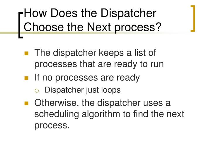 How Does the Dispatcher Choose the Next process?