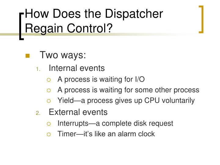 How Does the Dispatcher Regain Control?