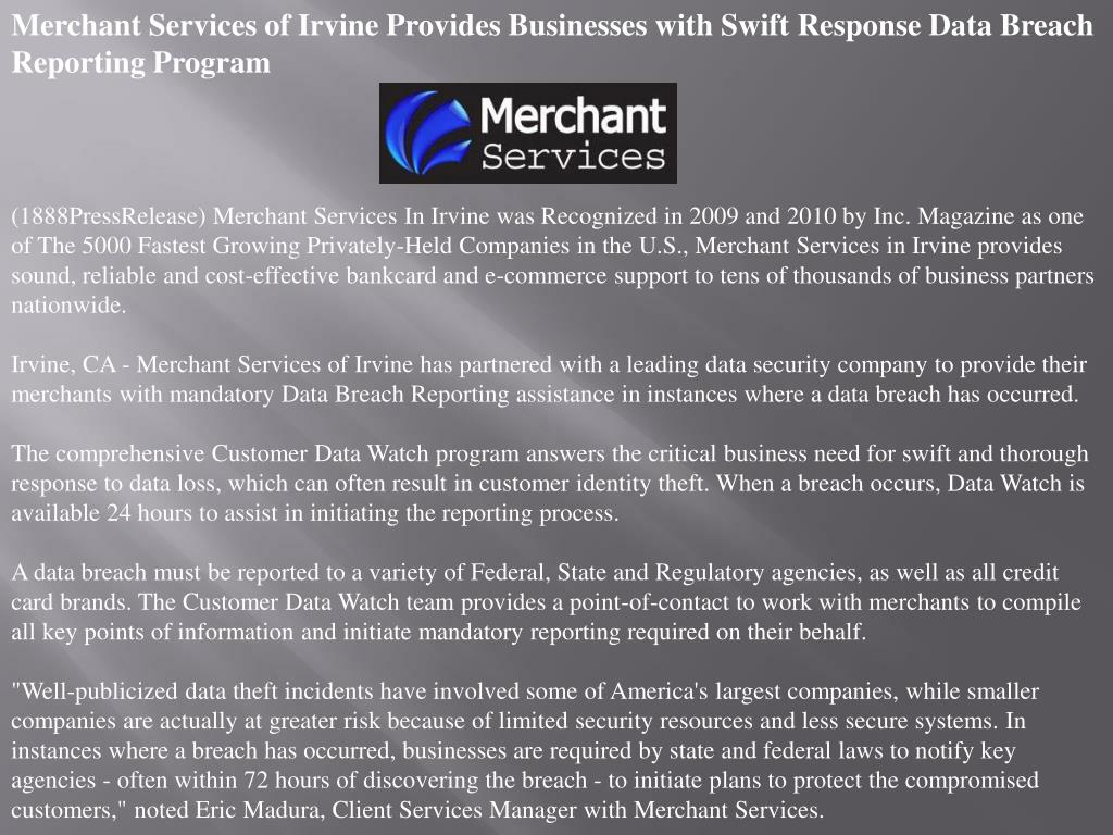 Merchant Services of Irvine Provides Businesses with Swift Response Data Breach Reporting Program