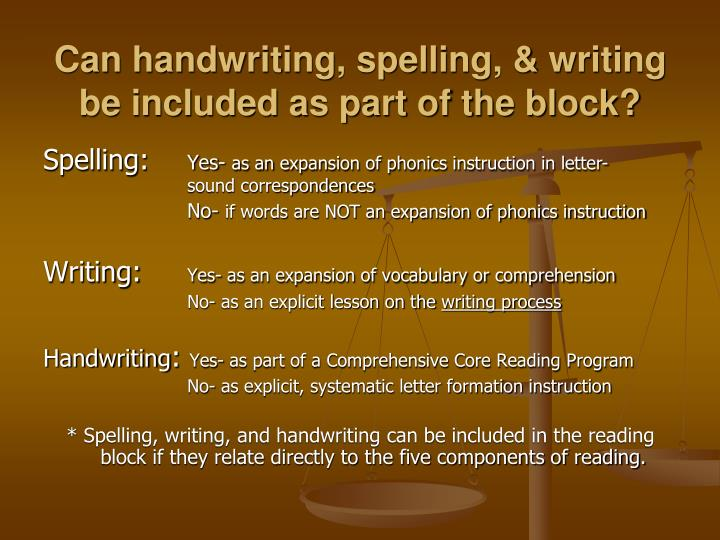 Can handwriting, spelling, & writing be included as part of the block?