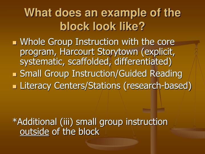 What does an example of the block look like?