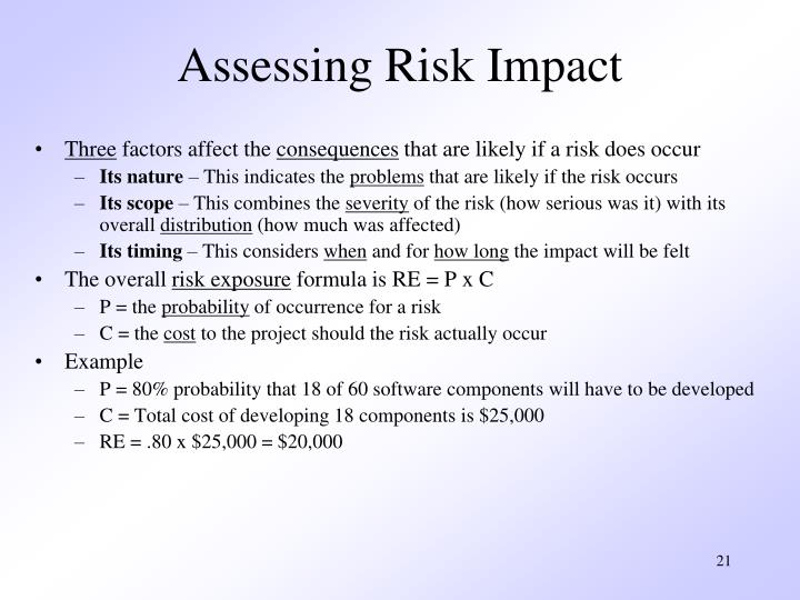 Assessing Risk Impact