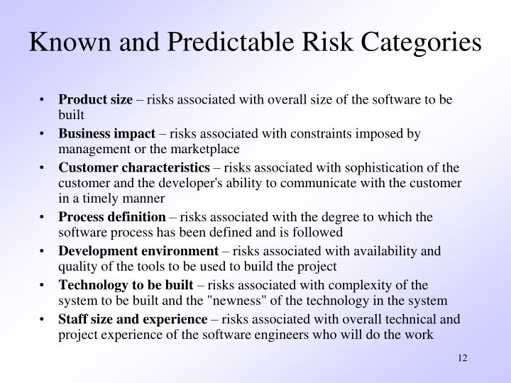 Known and Predictable Risk Categories