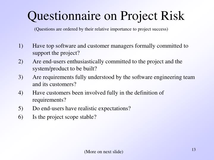 Questionnaire on Project Risk