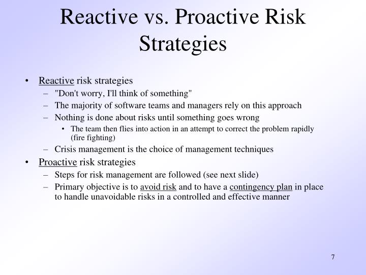 Reactive vs. Proactive Risk Strategies