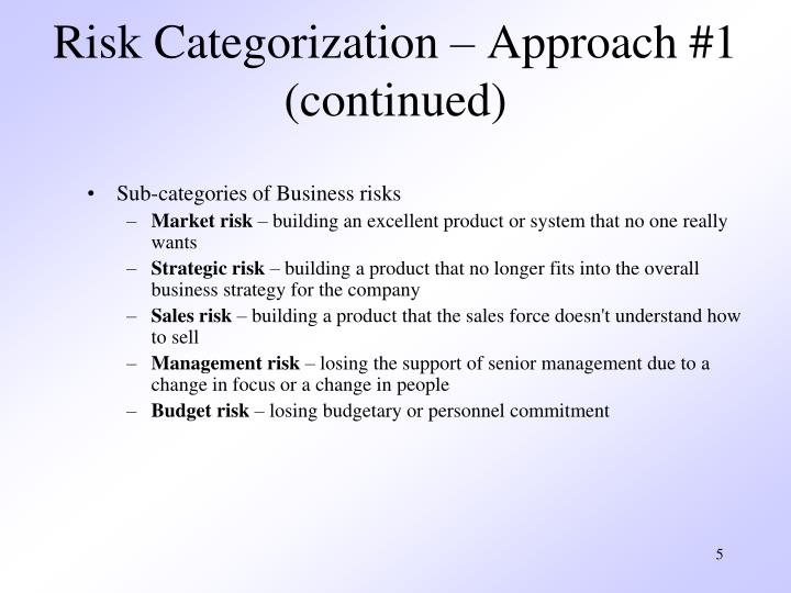 Risk Categorization – Approach #1 (continued)