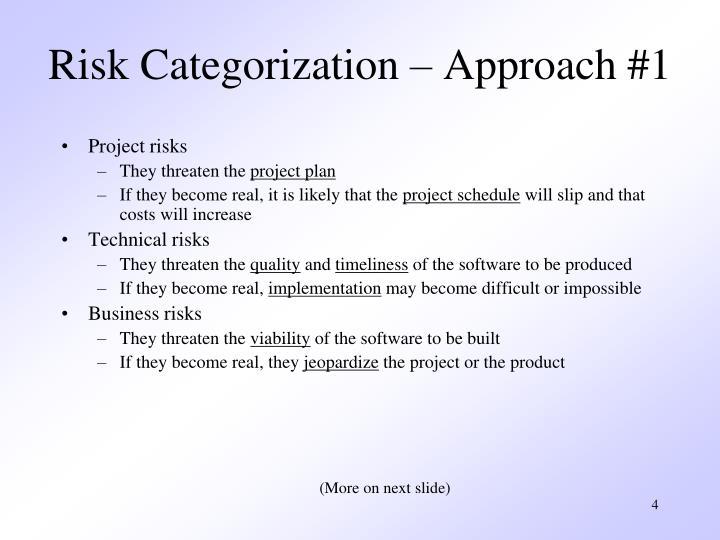 Risk Categorization – Approach #1