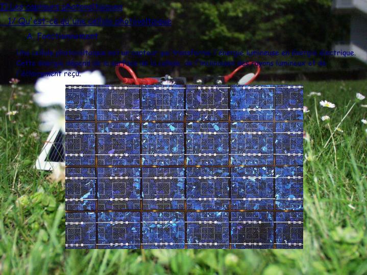 I) Les capteurs photovoltaïques