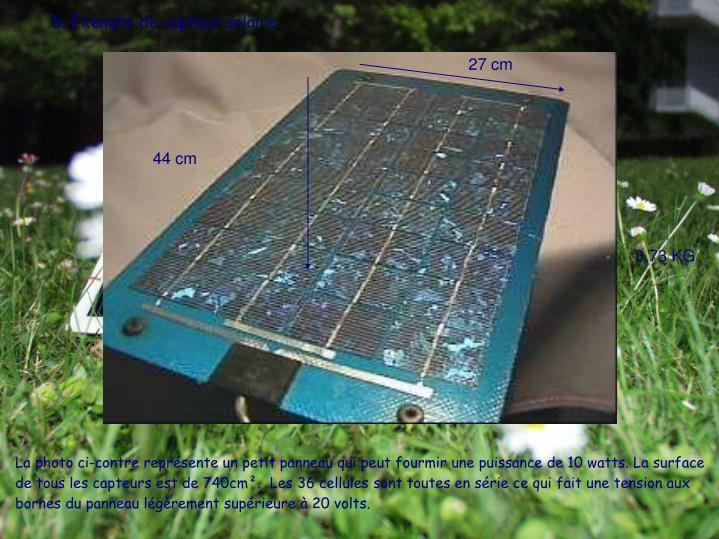 B. Exemple de capteur solaire