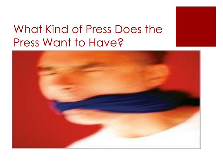 What Kind of Press Does the Press Want to Have?