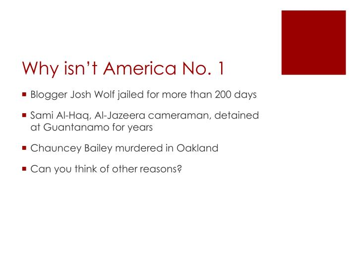 Why isn't America No. 1