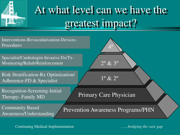At what level can we have the     greatest impact?
