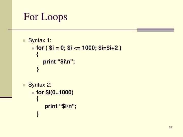 For Loops
