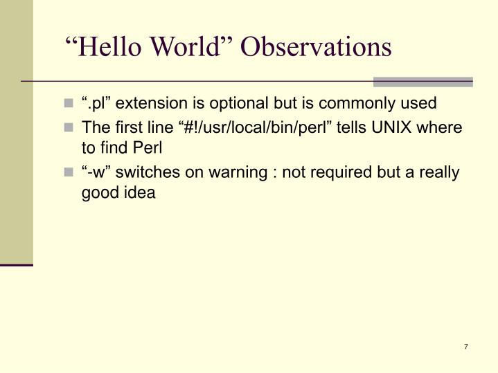 """Hello World"" Observations"