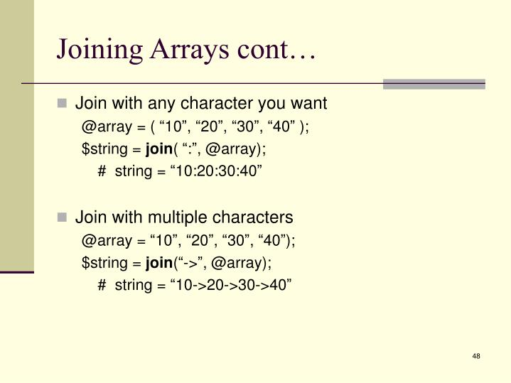 Joining Arrays cont…