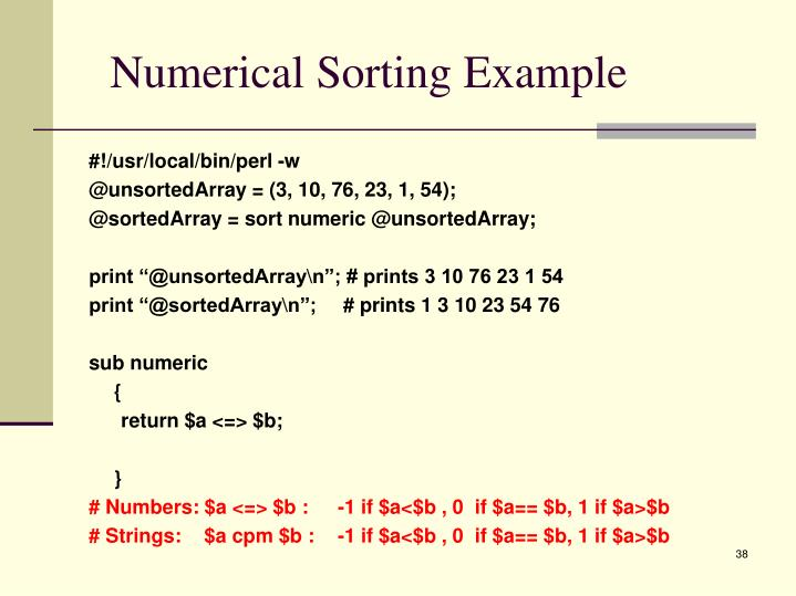 Numerical Sorting Example