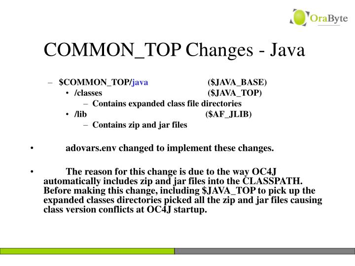 COMMON_TOP Changes - Java