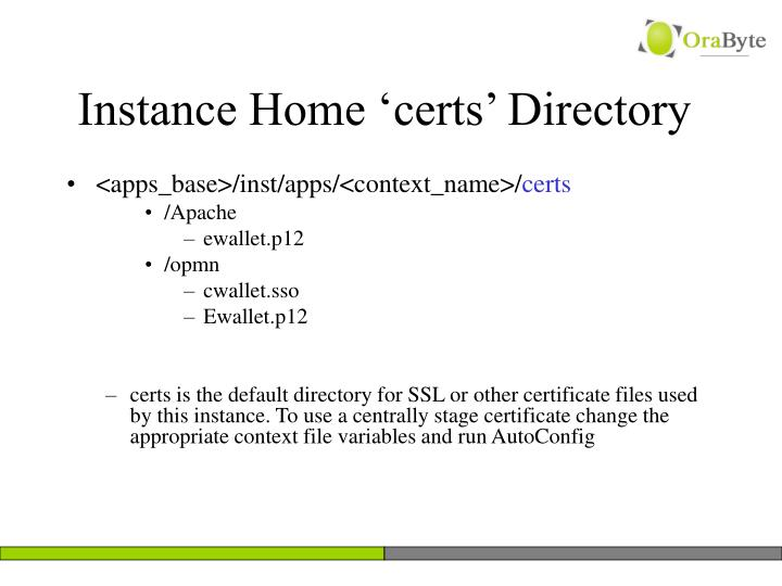 Instance Home 'certs' Directory