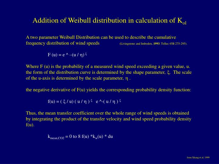 Addition of Weibull distribution in calculation of K