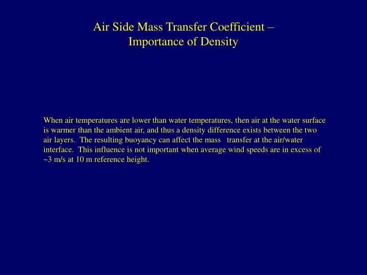 Air Side Mass Transfer Coefficient – Importance of Density