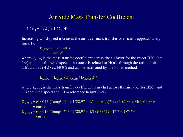 Air Side Mass Transfer Coefficient