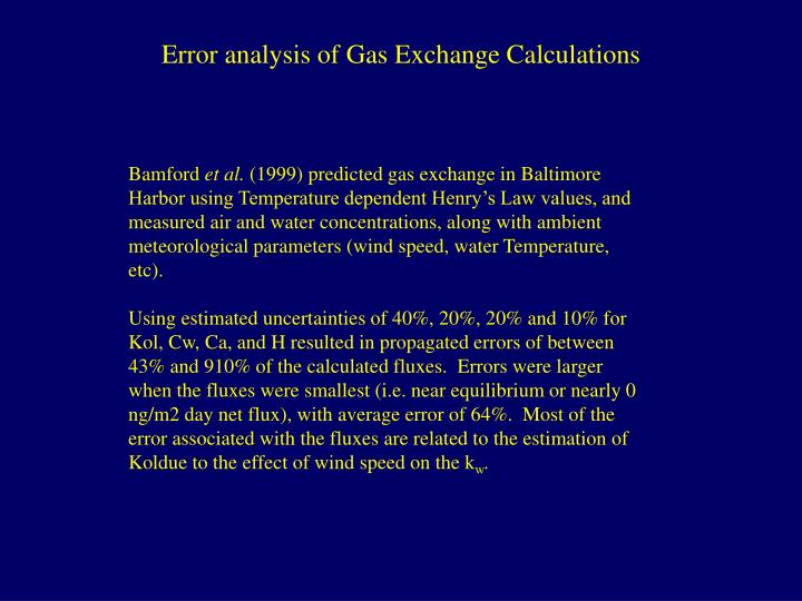 Error analysis of Gas Exchange Calculations