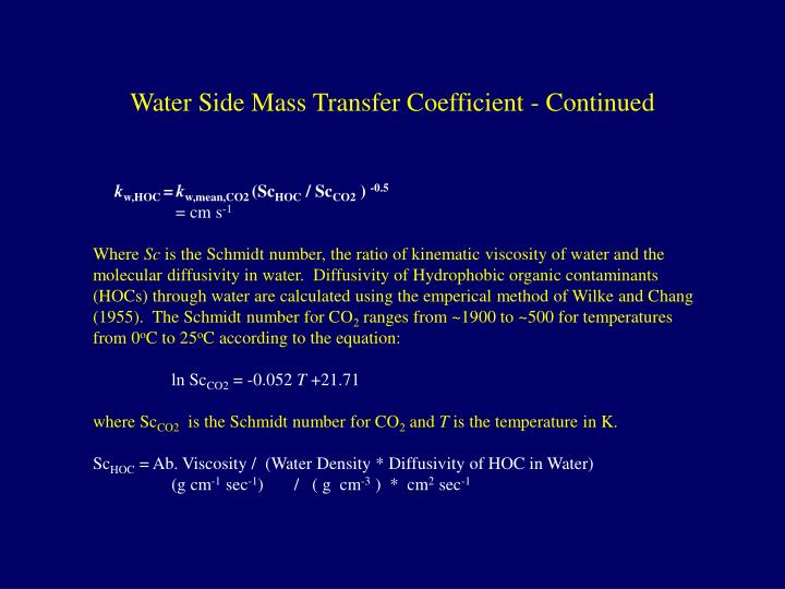 Water Side Mass Transfer Coefficient - Continued