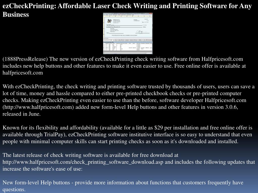 ezCheckPrinting: Affordable Laser Check Writing and Printing Software for Any Business