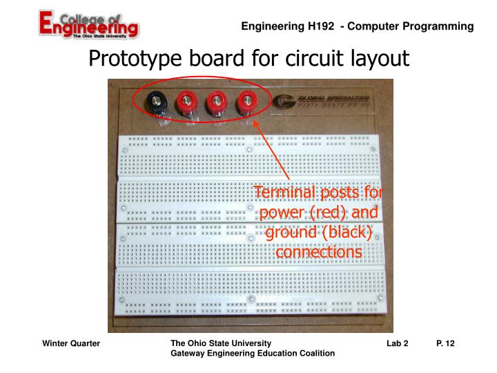 Prototype board for circuit layout
