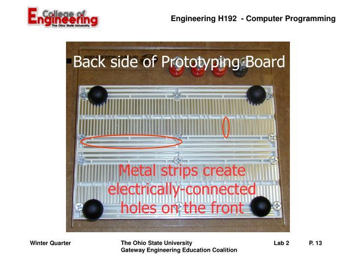 Back side of Prototyping Board