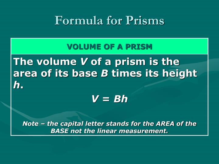 Formula for Prisms