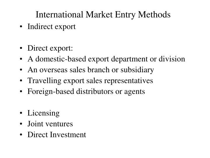 International Market Entry Methods