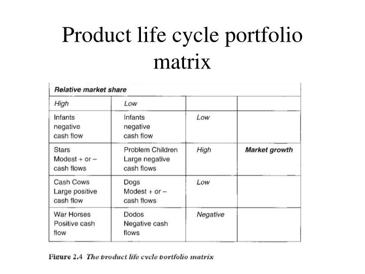 Product life cycle portfolio matrix