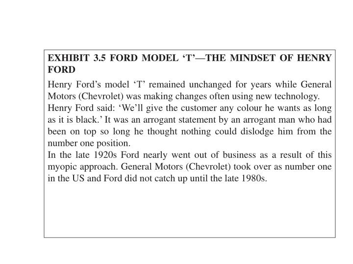 EXHIBIT 3.5 FORD MODEL 'T'—THE MINDSET OF HENRY FORD