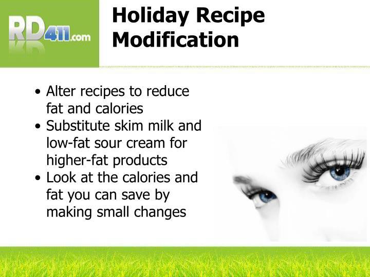 Holiday Recipe Modification