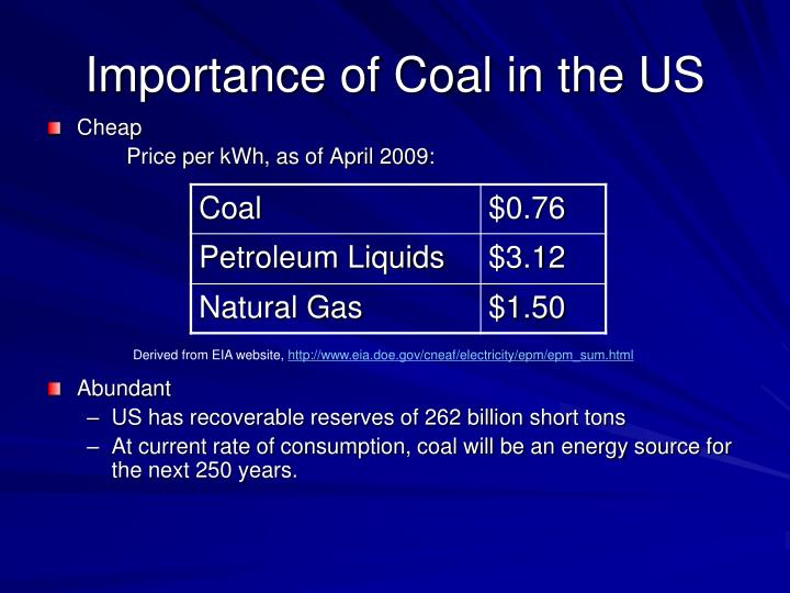 Importance of Coal in the US