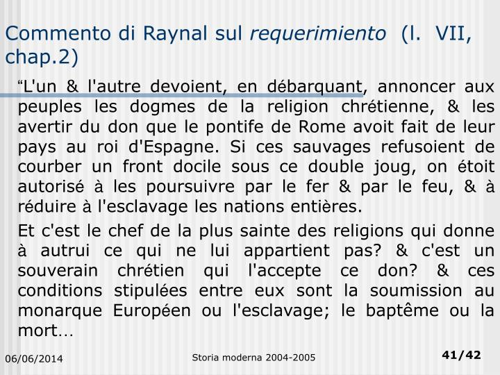 Commento di Raynal sul