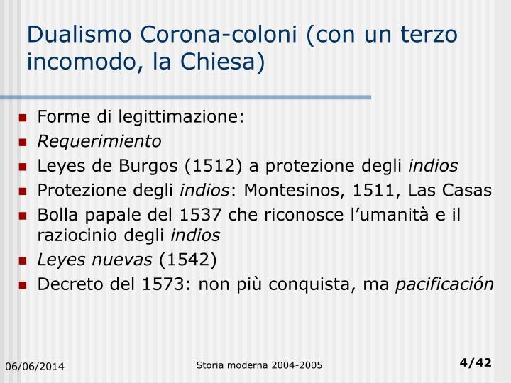 Dualismo Corona-coloni (con un terzo incomodo, la Chiesa)