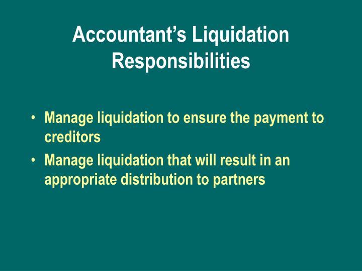 Accountant's Liquidation Responsibilities