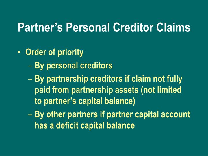 Partner's Personal Creditor Claims
