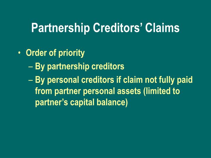 Partnership Creditors' Claims