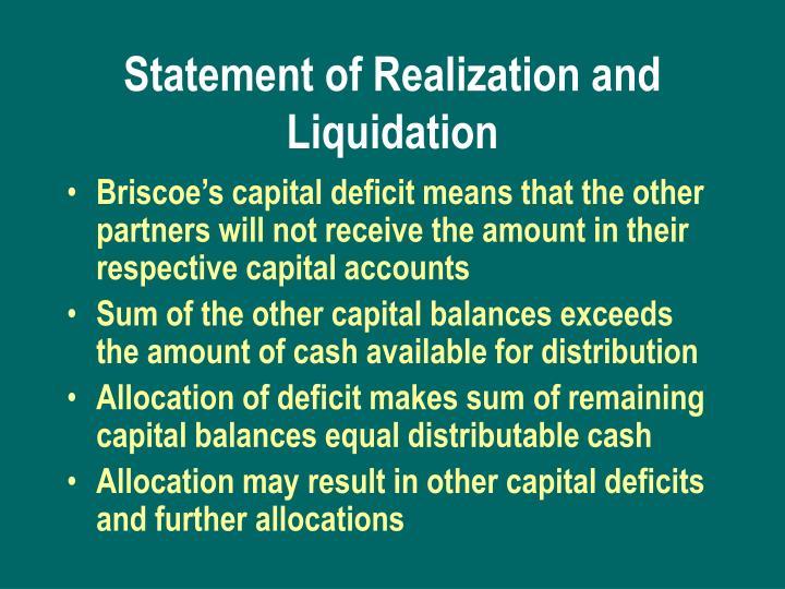 Statement of Realization and Liquidation