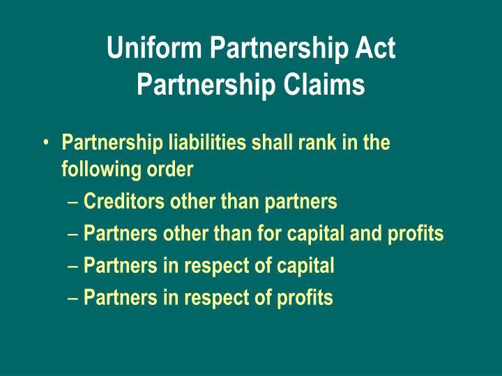 Uniform Partnership Act Partnership Claims