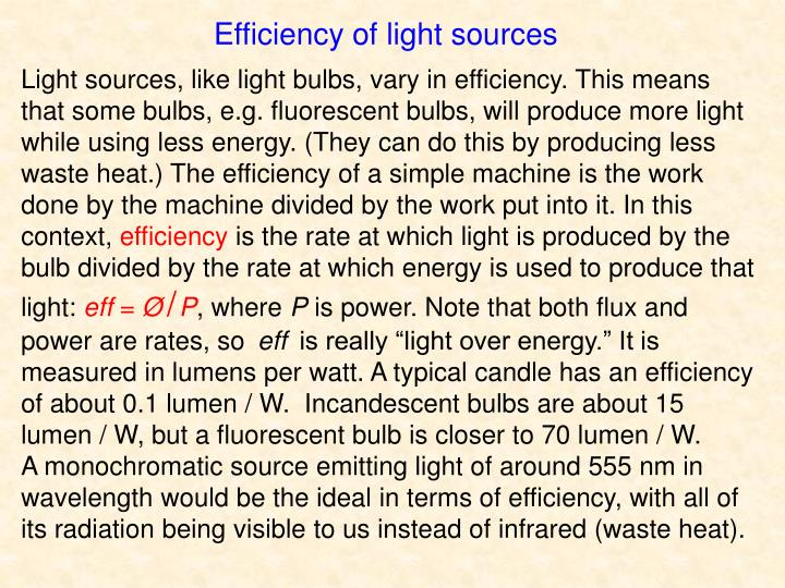 Efficiency of light sources