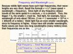 frequency and wavelength cont