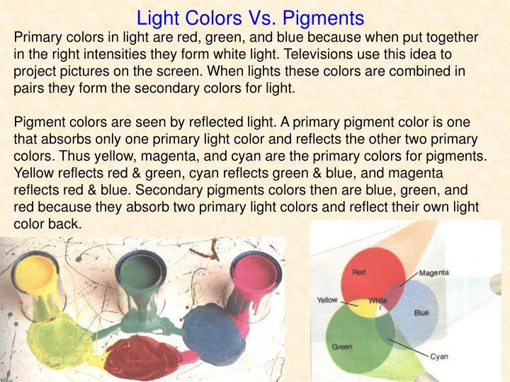 Light Colors Vs. Pigments