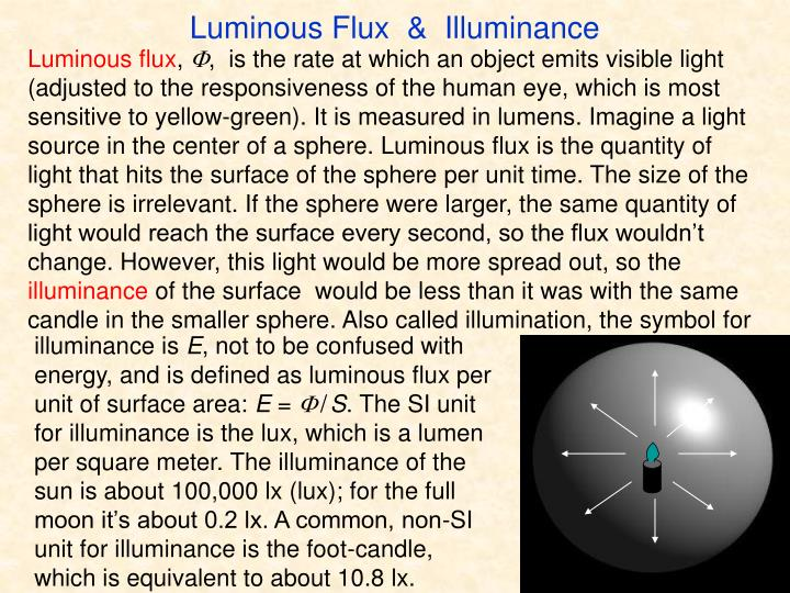 Luminous Flux  &  Illuminance