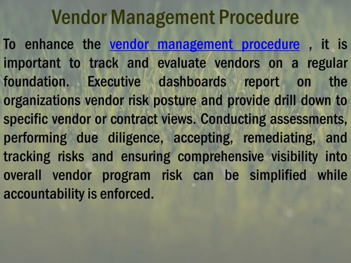 Vendor management procedure