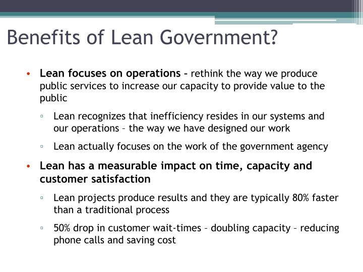 Benefits of Lean Government?
