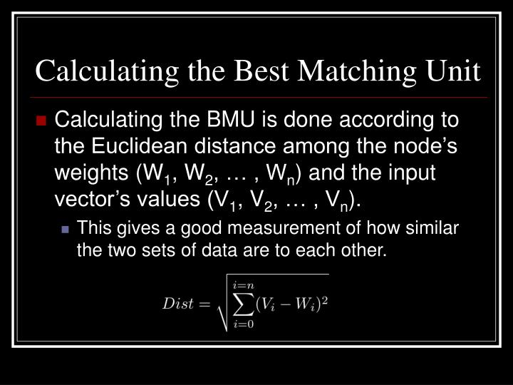 Calculating the Best Matching Unit